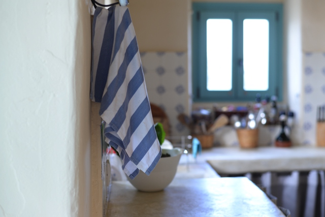 Greek Island home decor ideas, blue stripes