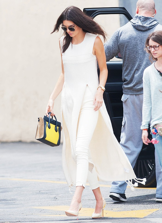 Kendal Jenner tunic white over pants, Celine bag