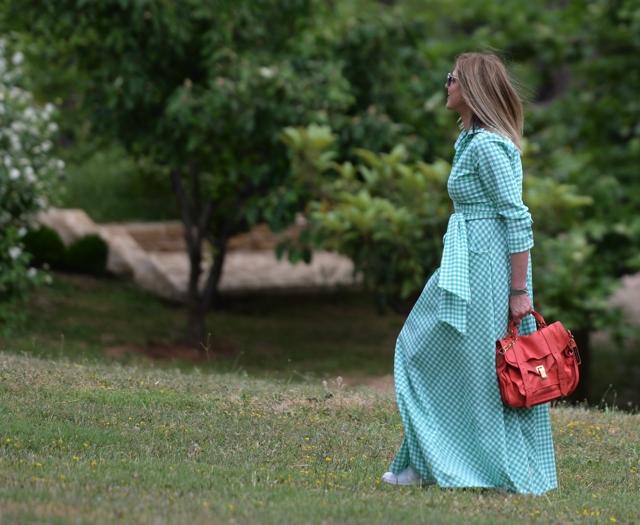 Styling Maxi Green Gingham print dress, Adidas Stan Smith Proenza Schouler bag