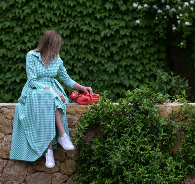 Styling Maxi Green Gingham print dress, Adidas Stan Smith Proenza Schouler bag sporty garden party style