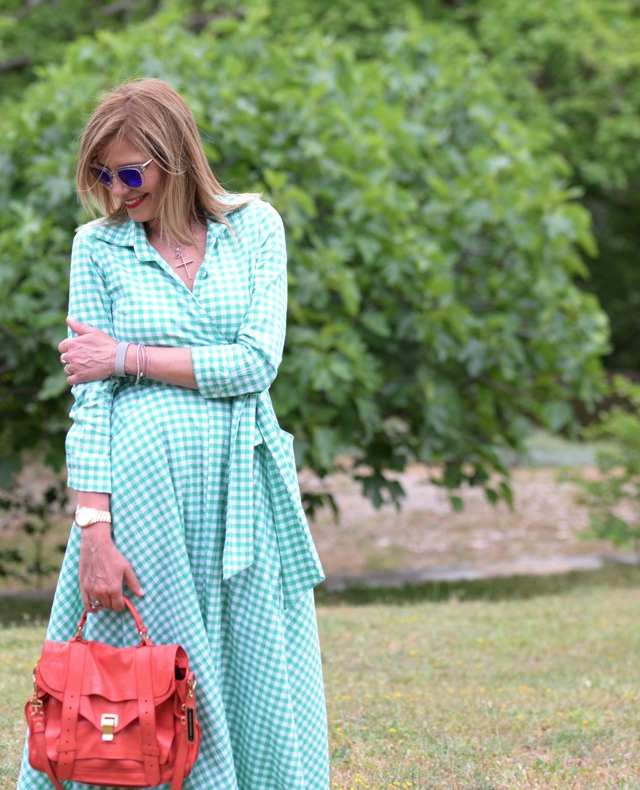 Styling Maxi Green V neck Gingham dress, Adidas Stan Smith Proenza Schouler bag