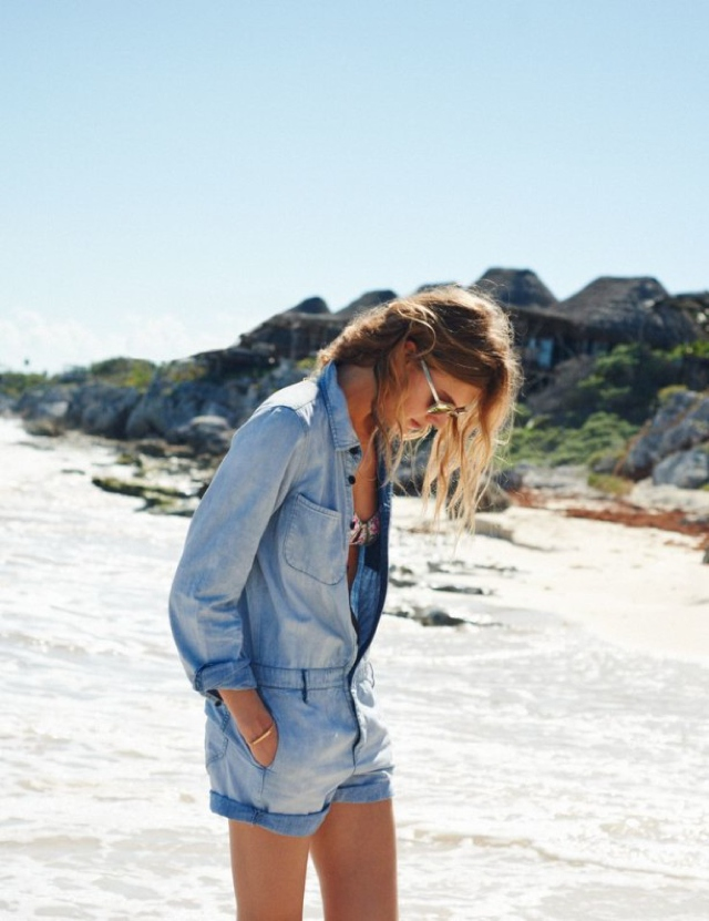 vacation outfits denim overalls beach