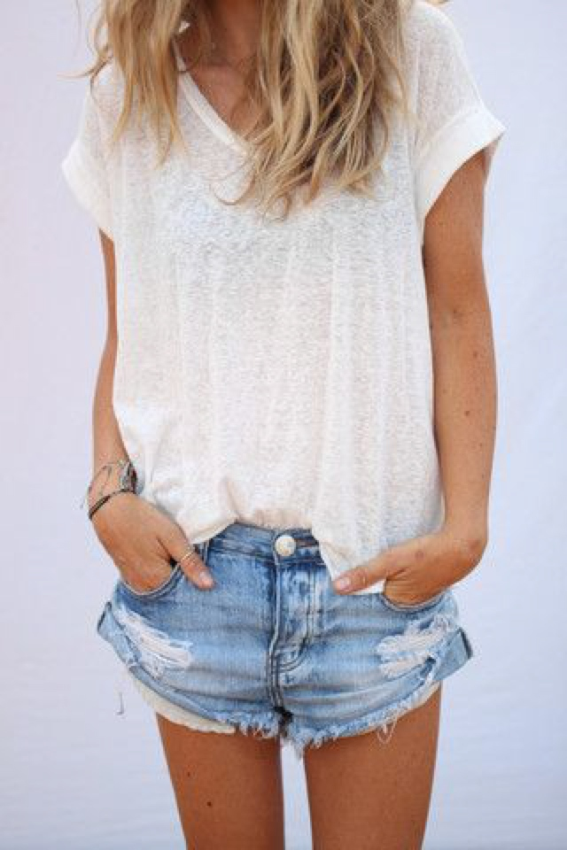 summer classics denim and white top