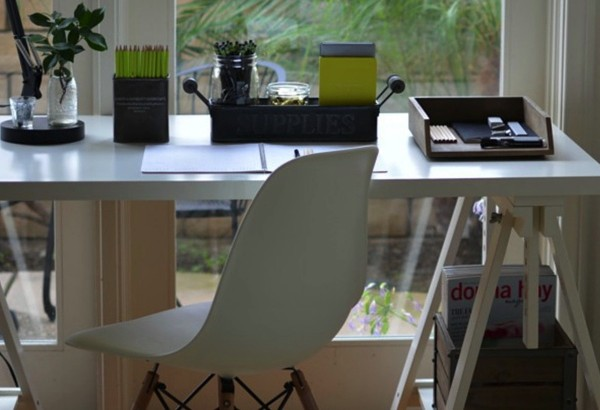 home office update white Eames (Evie) chair