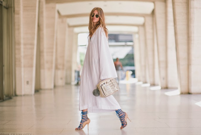 white dress with lace up sandals, blue
