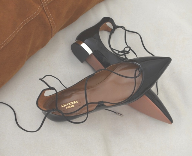 Aquazzura Pointed-Toe Lace-Up Flats discount shop purchase sale online jPlGK