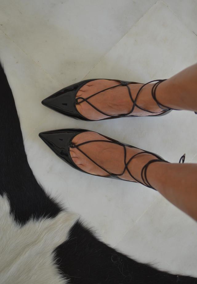 Aquazzura Christy pointy lace-up fllat shoes, TrendSurvivor
