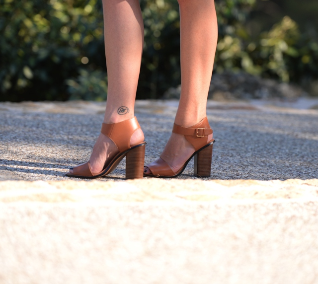 block heel Mango shoes, ankle tattoo