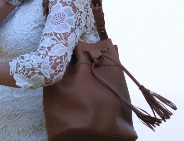 lace dress, Jenn bucket handbag