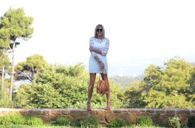 lace white bodycon dress, GiGi New York Jenn bucket bag saddle pebble grain Nina Papaioannou