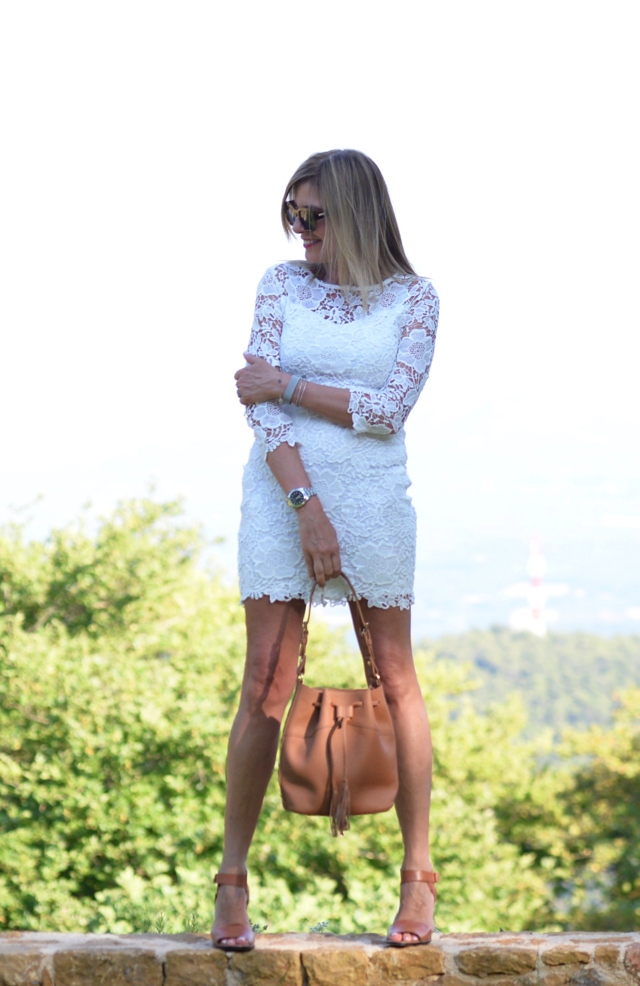 Summer day to night style, white lace dress