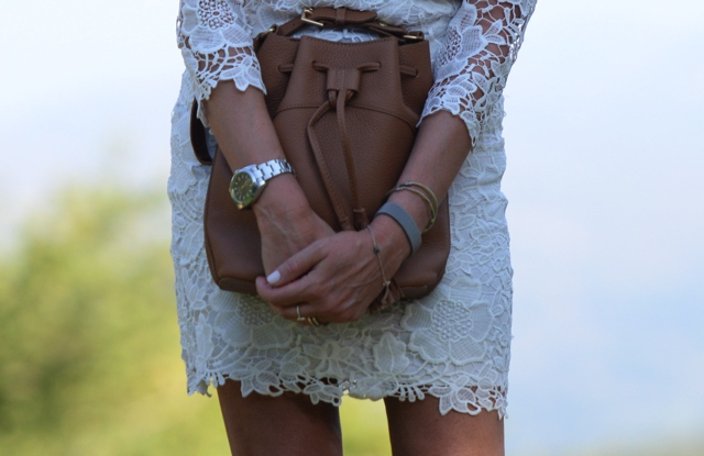 white lace dress, tan bucket