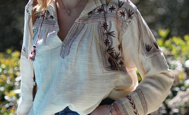 Isabel Marant embroidered street style peasant blouse street style