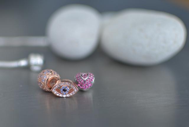 silver charms pink swarovski