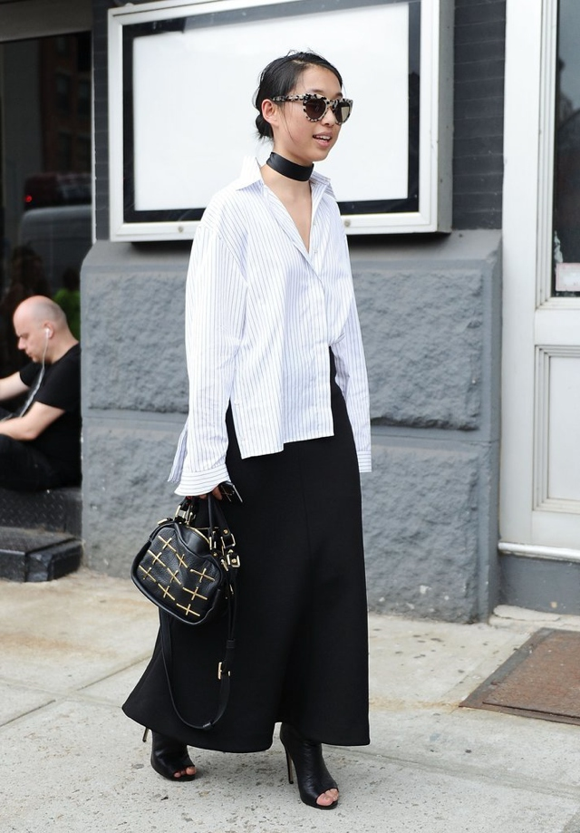 culottes black white shirt