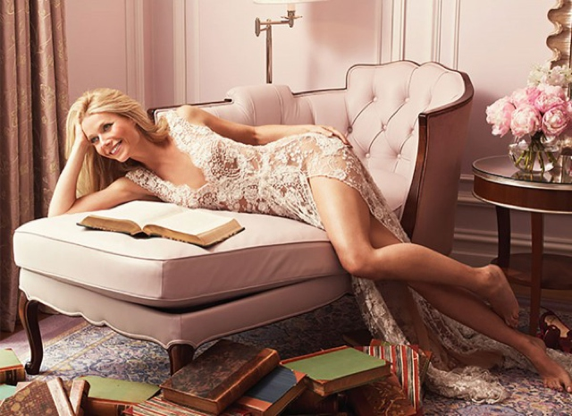 Gwyneth Paltrow lace dress, nude lips