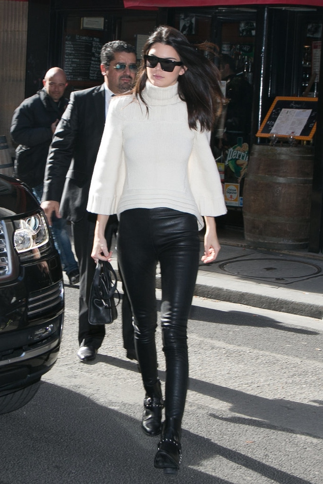 PFW-Kendall Jenner skinny leather pants Day-Four
