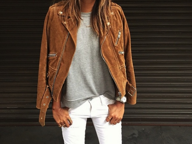 Sincerely Jules camel suede leather jacket