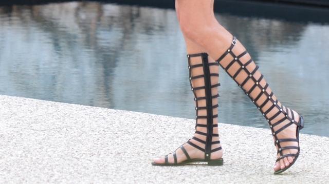 Stuart Weitzman gladiator sandals street style