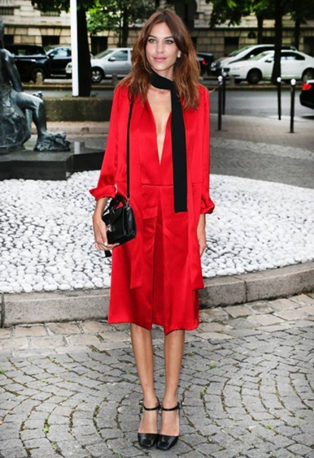 Alexa Chung red dress black skinny scarf