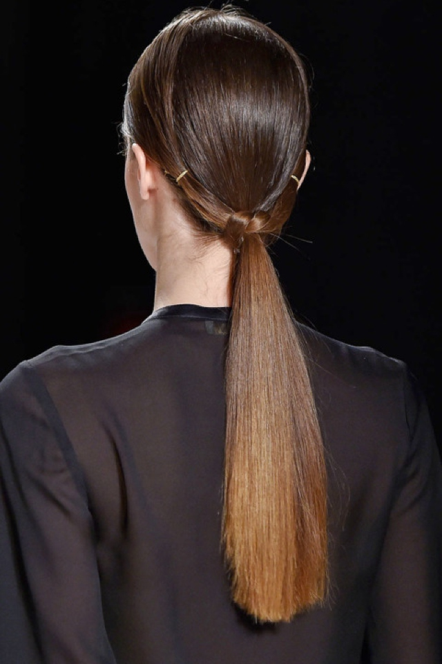twisted braid low ponytail