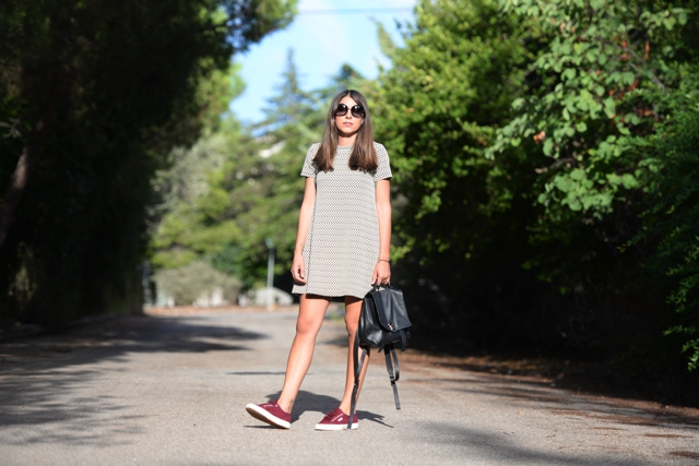Niki Svolou Casual everyday  street style, shift dress superga