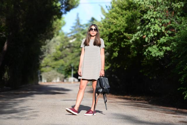 Niki Svolou Casual everyday  street style, shift dress superga