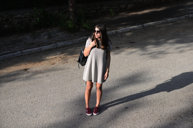 casual street style, shift dress sneakers