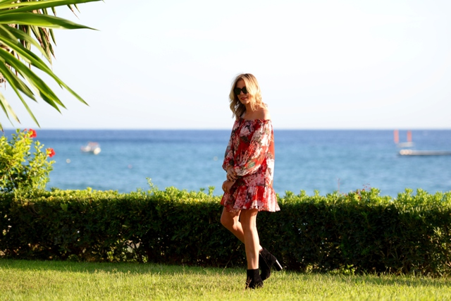 Red floral Mango Gucci dress, Isabel Marant suede boots Nina Papaioannou