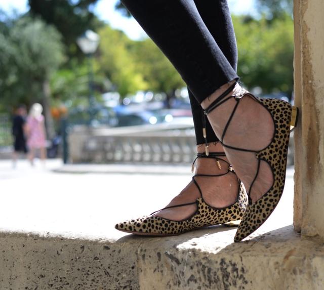 Aquazzura leopard lace up flats street style