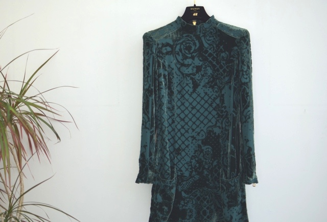 Balmain HM green velvet dress