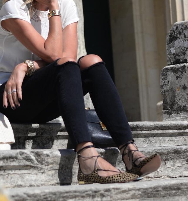 skinny black jeans, Aquazzura leopard flats