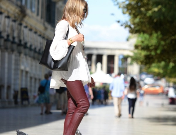 Everyday Wardrobe Essentials Acne Leather pants, Saint Laurent ankle boots, shopping bag01
