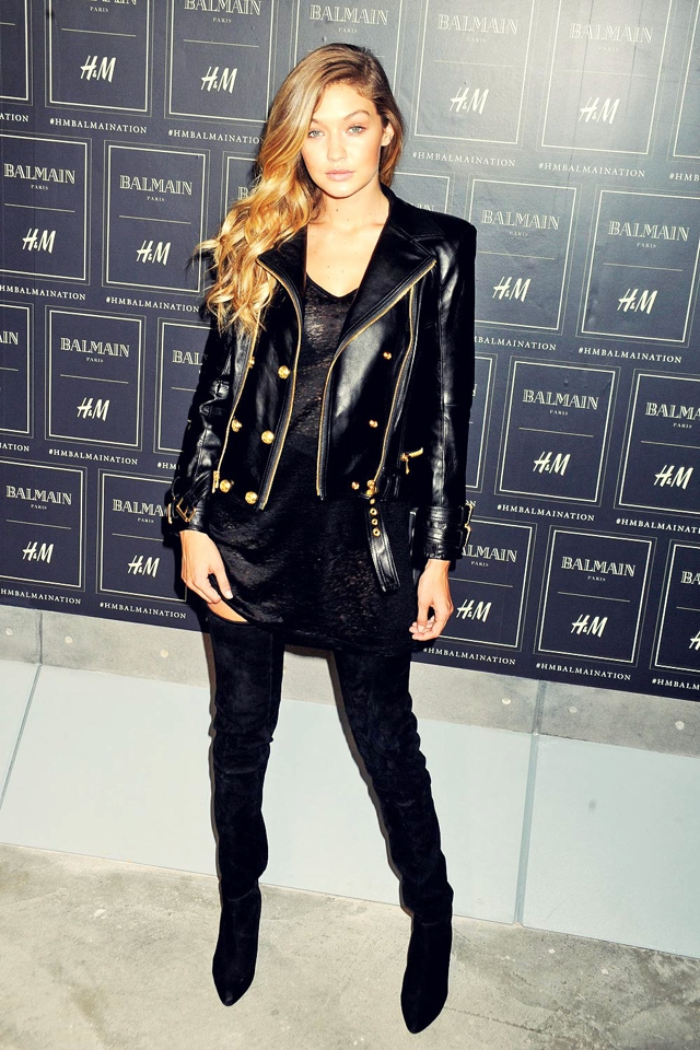 Gigi-Hadid leather jacket gold buttons Balmain H and M collection