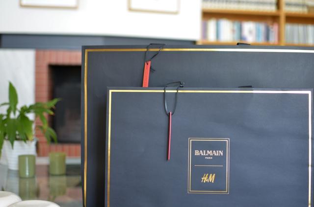 HM Balmain black bag golden letter red tag