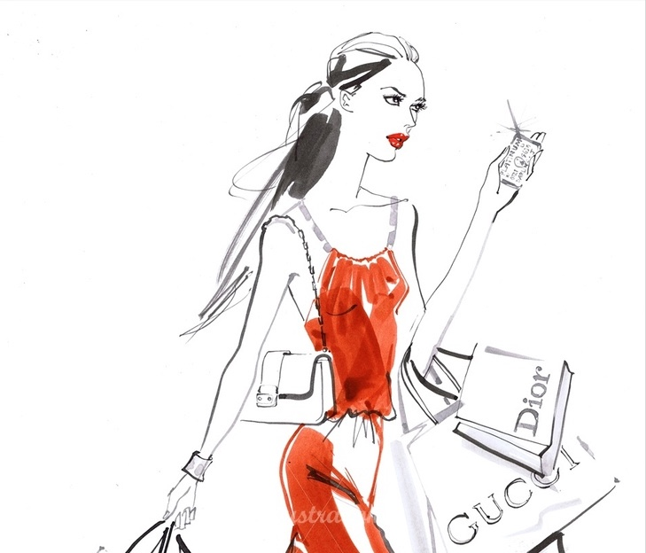 Illustration by Jacqueline Bissett, shopping
