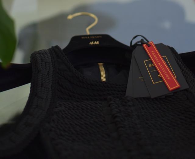 Velvet black dress Balmain X H and M