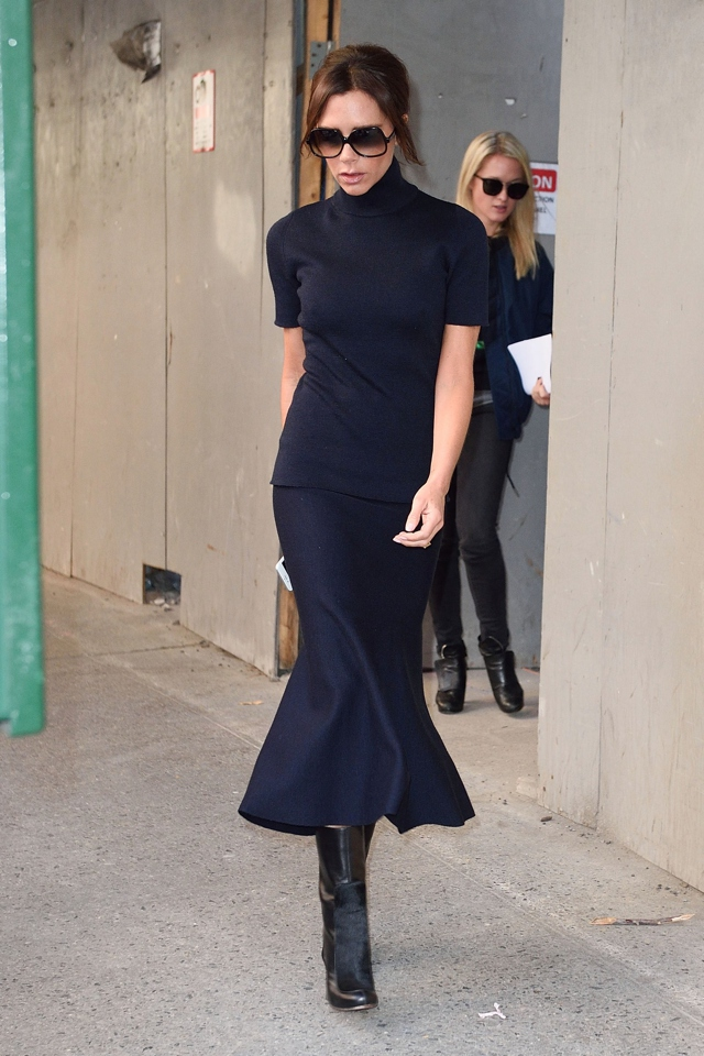 Victoria Beckham wearing new Fall flounce skirt