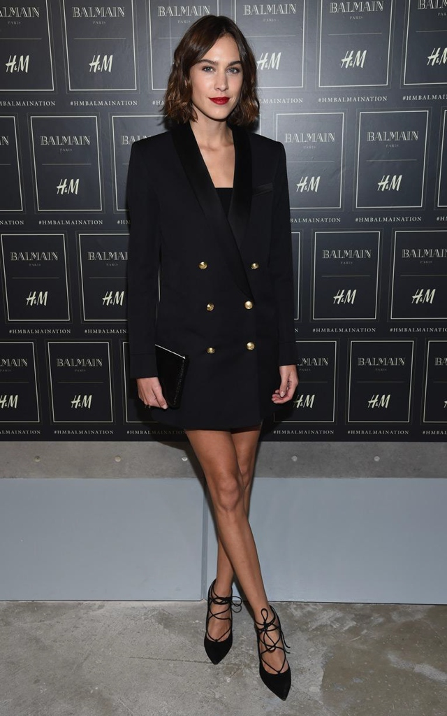 chung in Balmain for H and M jacket with gold buttons