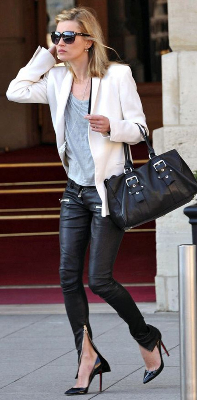 kate-moss-black-leather-pants-gray-tee-cream-blazer-heels