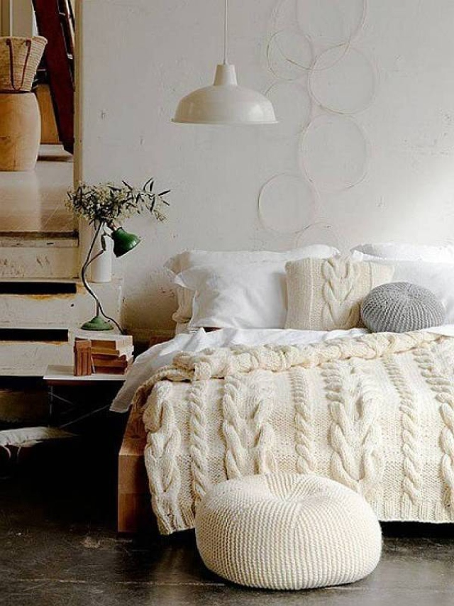 shabby chic white knit for bed, White Color Decoration