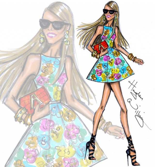 Anna Dello Russo illustration floral dress