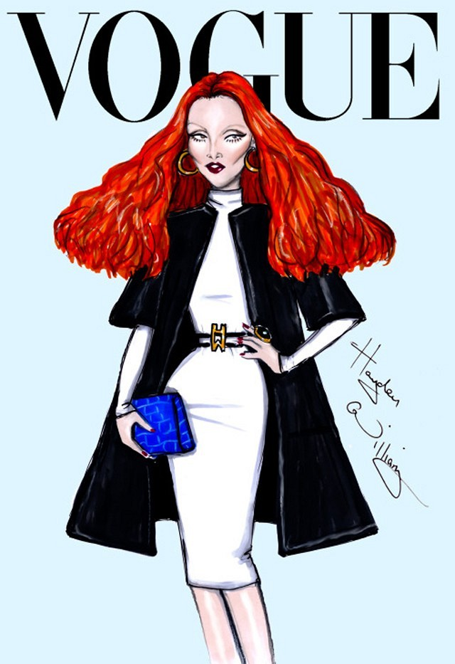 Grace Coddington, Vogue Creative Director illustration,Major Fashion Editors