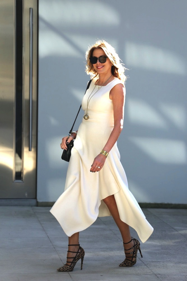 Nina Papaioannou white DKNY dress