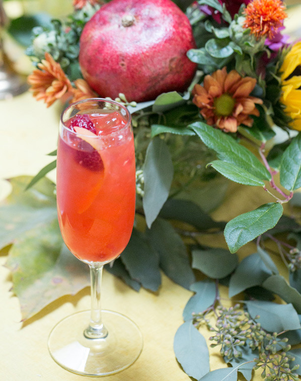Sparkling Cocktails with fruits