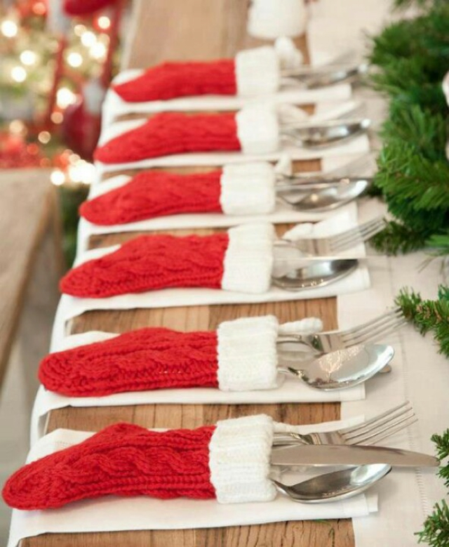 christmas stockings as table decor