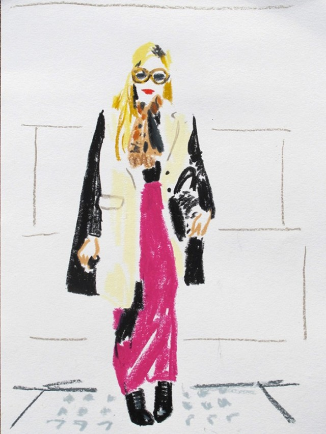 sketched-Joanna Hillman, Harper's Bazaar Senior Fashion Market Editor-illustrations-of-major-fashion-editors