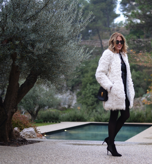 White Fur coat -Self Portrait black dress-street style