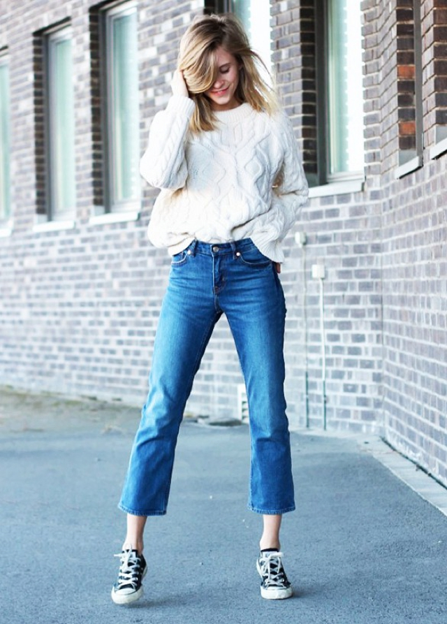 white jumper and flare capri