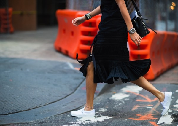 black skirt white sneakers